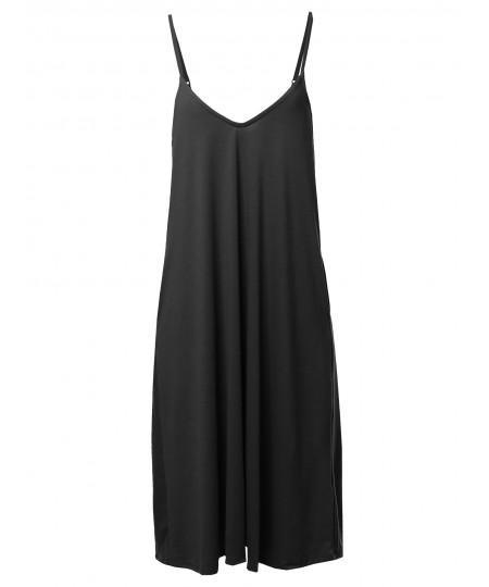 Women's Solid V-neck Cami Knee Length Dress