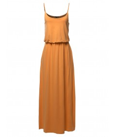 Women's Solid Double Layered Elastic Waist Band Maxi Dress