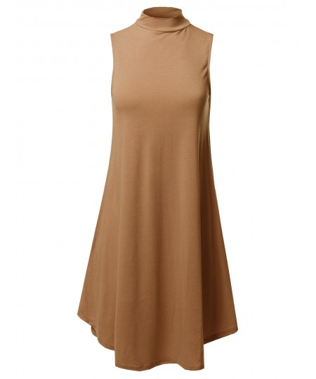 Women's Solid Mock Neck Sleeveless Tunic Dress