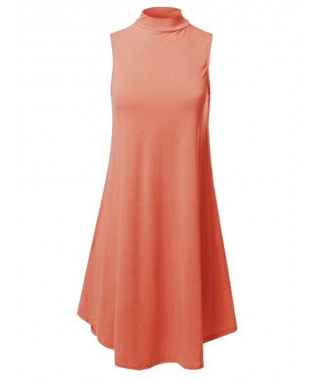 Women's Solid Mock Neck Sleeveless Tunic Dress
