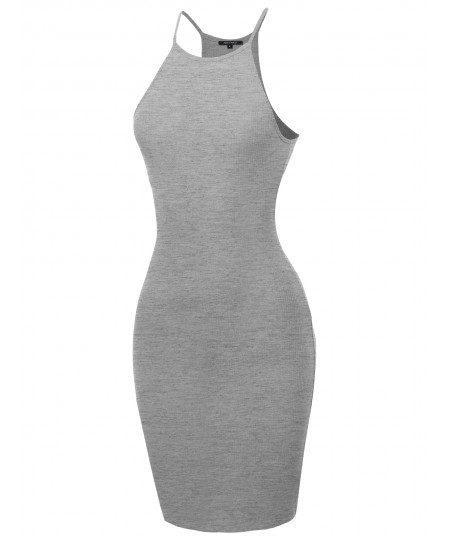 Women's Solid High Neck Ribbed Body-Con Mini Dress