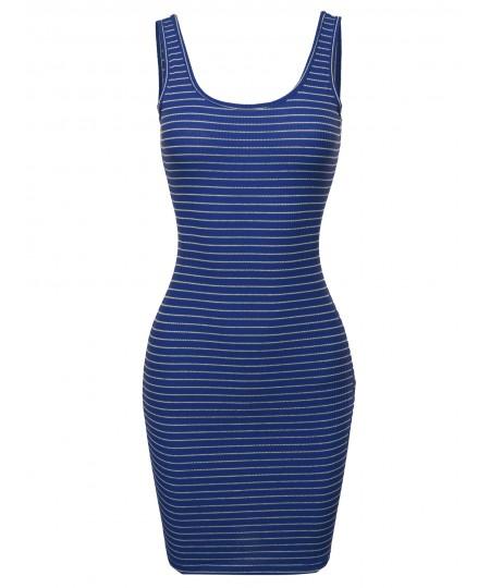 Women's Stripe Print Scoop Neck Sleeveless Ribbed Body-Con Mini Dress