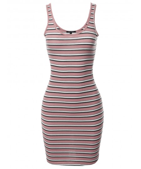 Women's Stripe Print Scoop Neck Sleeveless Ribbed Body-Con Mini Dress
