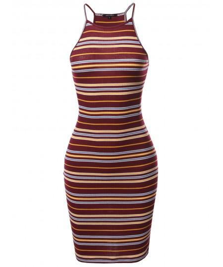 Women's Stripe Print High Neck Ribbed Body-Con Mini Dress
