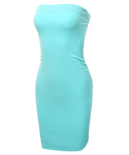 Women's Solid Double Lining Sexy Tube Mini Dress