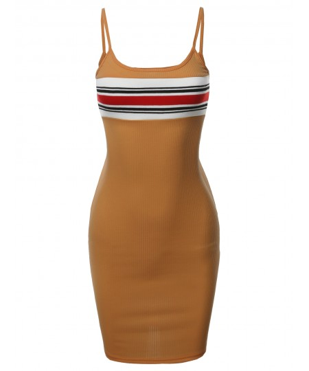 Women's Sexy Cute Chest Stripe Panel Detail Cami Ribbed Dress
