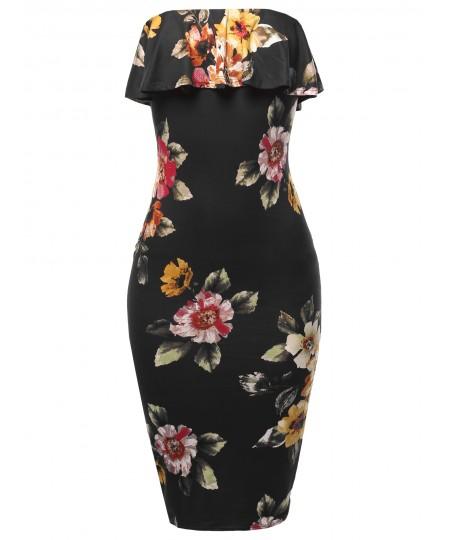 Women's Sexy Tube Midi Dress