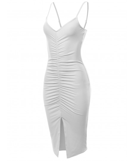 Women's Solid Sexy Sleeveless Runched Midi Dress