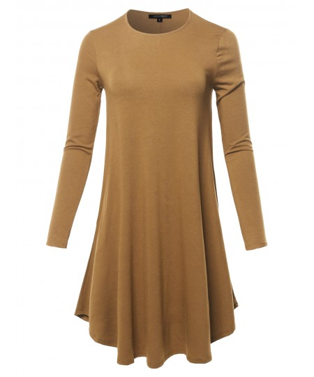 Women's Solid Long Sleeve Casual Loose T-shirt Dress