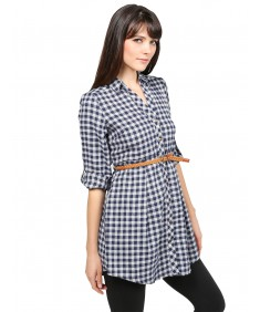 Women's Casual 3/4 Roll Up Sleeve Plaid Belted Shirt Dress