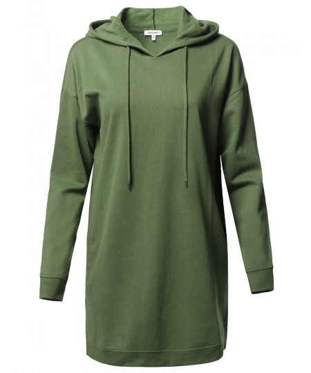 Women's Casual Over-Sized Loose Fit Tunic Drawstring Hooded Sweatshirts