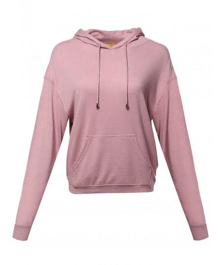 Women's Casual Solid Pullover Drop Shoulder Hoodie Sweatshirt