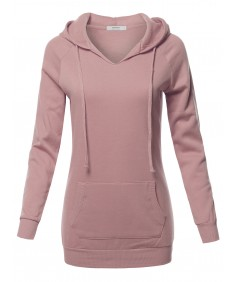 Women's Casual Raglan Long Sleeve Kangaroo Pocket Long-Line Hoodie
