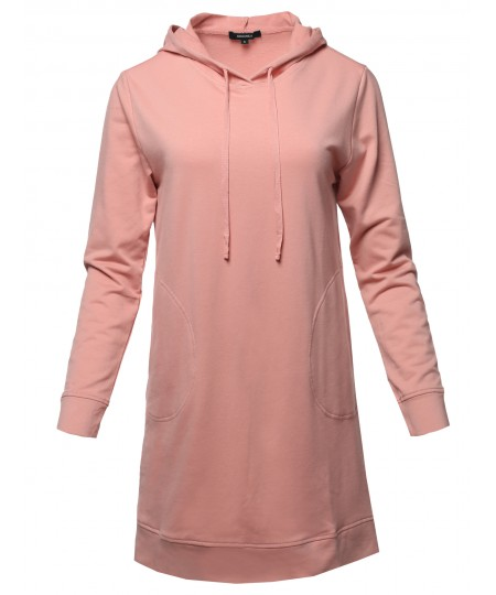 Women's Solid Over-Sized Drawstring Hooded Long-Line Tunic Top