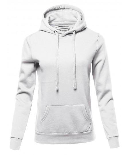 Women's Solid Fleece Pullover Hoodie