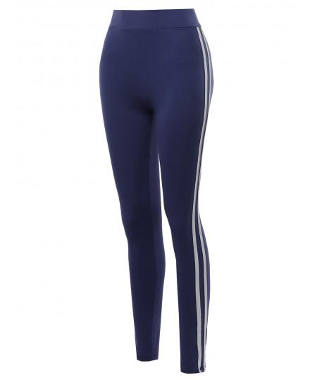 Women's Stripe Trendy Work Out Leggings