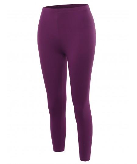 Women's Solid High Waisted Premium Cotton Capri Leggings