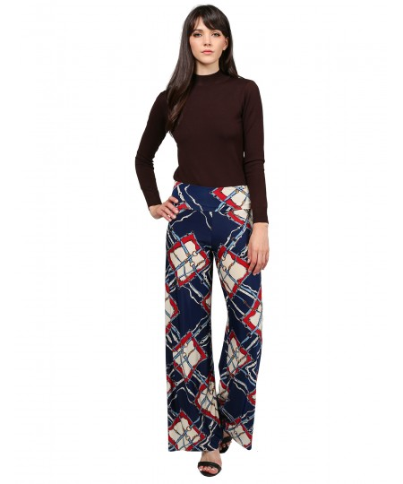 Women's MADE IN USA Soft Stretch Breathable Floral Stripe Palazzo Pants