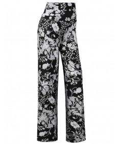 Women's MADE IN USA Soft Stretch Breathable Floral Palazzo Pants