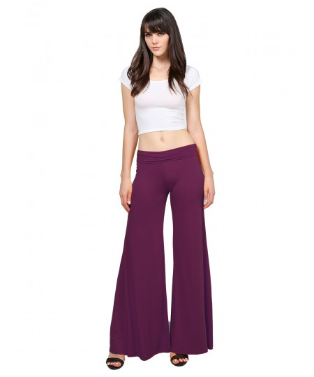 Women's Stretch Fold-Over High Waist Comfy Chic Solid Palazzo Pants