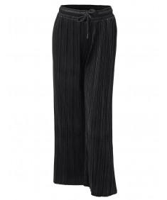 Women's Casual Loose Wide Leg Velvet Pleated Elastic Waist Pants