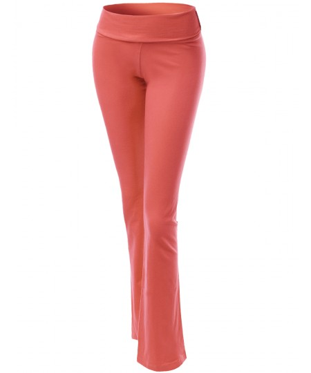 Women's Solid Full Length Flare Bottom Yoga Pants