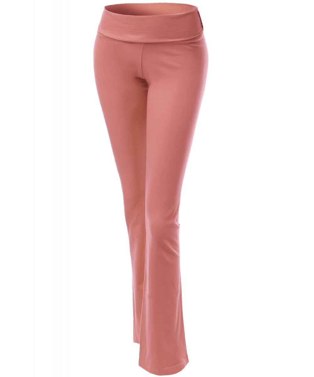 L New Women/'s Full Length Flare Bottom Yoga Pants with Fold Over Waist S M