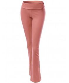 Women's Solid Full Length Flare Bottom Yoga Pants