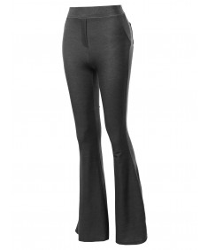 Women's Solid High Waisted Flare Wide Leg Pants