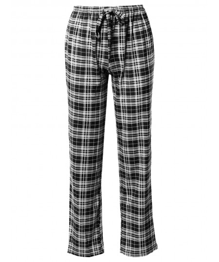 Women's Casual Mid Waist Plaid Drawstring Pants