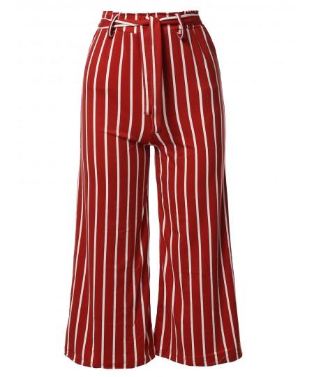Women's Casual Tie Waist Culottes Capri Length Pants