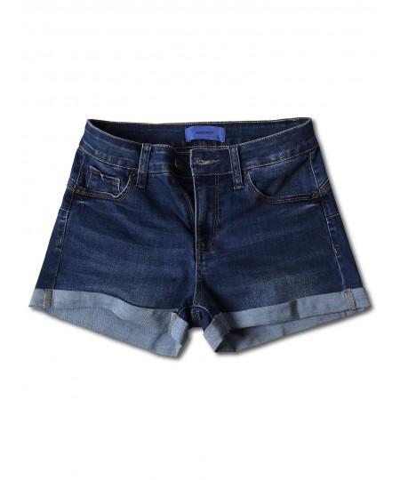 Women's Casual Push-up Roll-up Cuff High-rise Denim Shorts