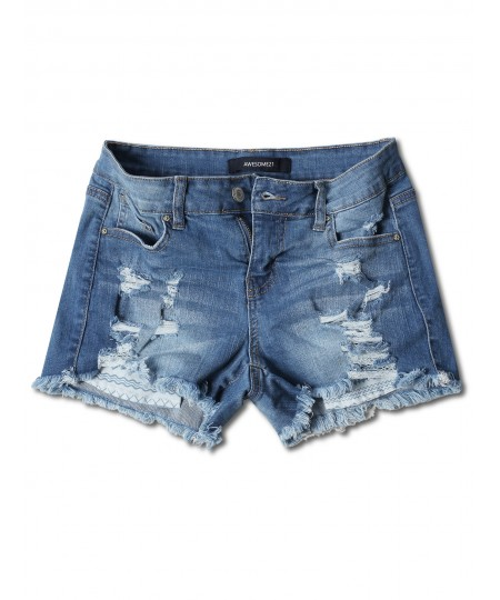 Women's Casual Distressed Exposed Pocket Denim Shorts
