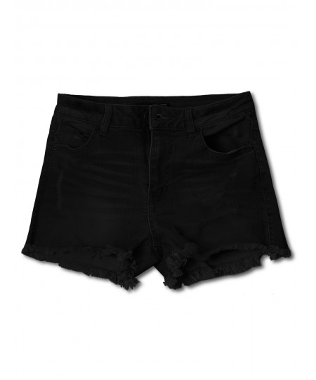 Women's Casual Distressed Frayed Hem Denim Shorts