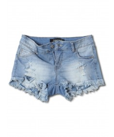 Women's Casual Washed Distressed Frayed Hem Denim Shorts