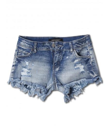 Women's Casual Washed Distressed Frayed Hem Denim Shorts