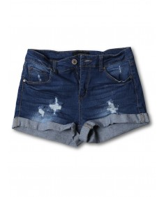 Women's Casual Distressed Roll-Up Cuff Denim Shorts