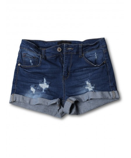 Women's Casual Distressed Roll-Up Cuff Denim Shorts