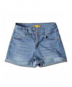 Women's Casual Two Buttons Push Up Roll-up Cuff Denim Shorts