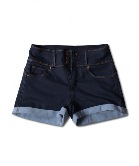 Women's Casual Three Buttons Push Up Roll-up Cuff Denim Shorts