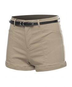 Women's Solid Belted Bengaline Roll-Up Cuff Shorts
