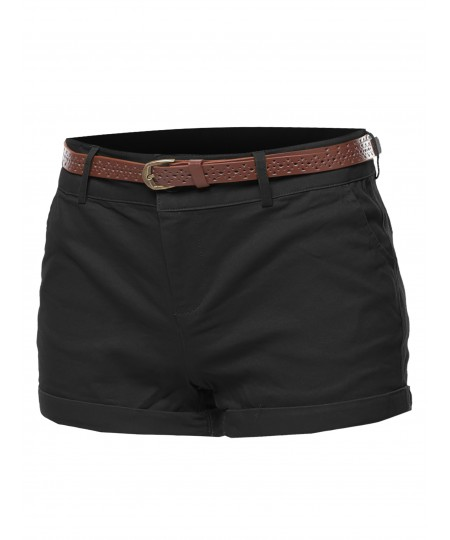 Women's Solid Roll-up Cuff Twill Short Pants With Belt