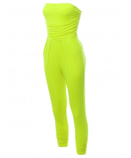 Women's Solid Tube Top Shirring Jumpsuit