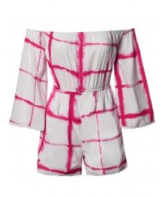 Women's Casual Summer Beach Tie Dye Printed Off Shoulder Romper