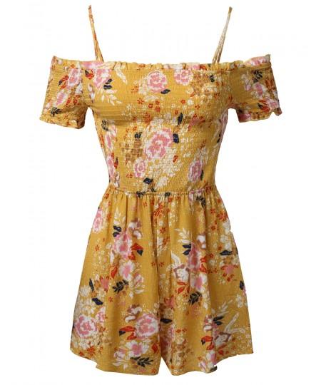 Women's Floral Print Off-Shoulder Spaghetti Strap Romper Jumpsuit