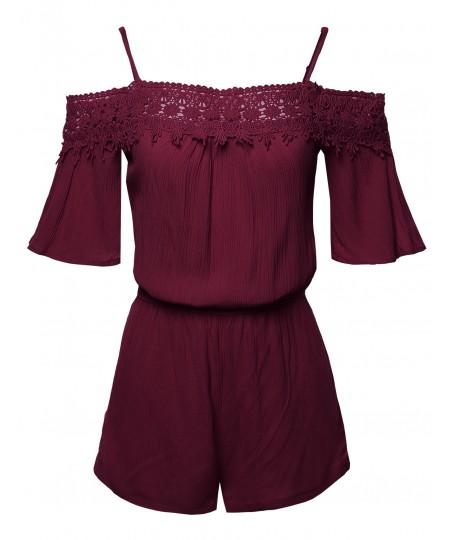 Women's Lace Detail Front Top Off-Shoulder Romper Jumpsuit