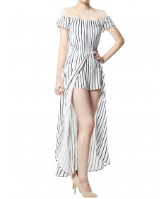 Women's Pinstripe Printed Off-Shoulder Split Maxi Short Overlay Romper