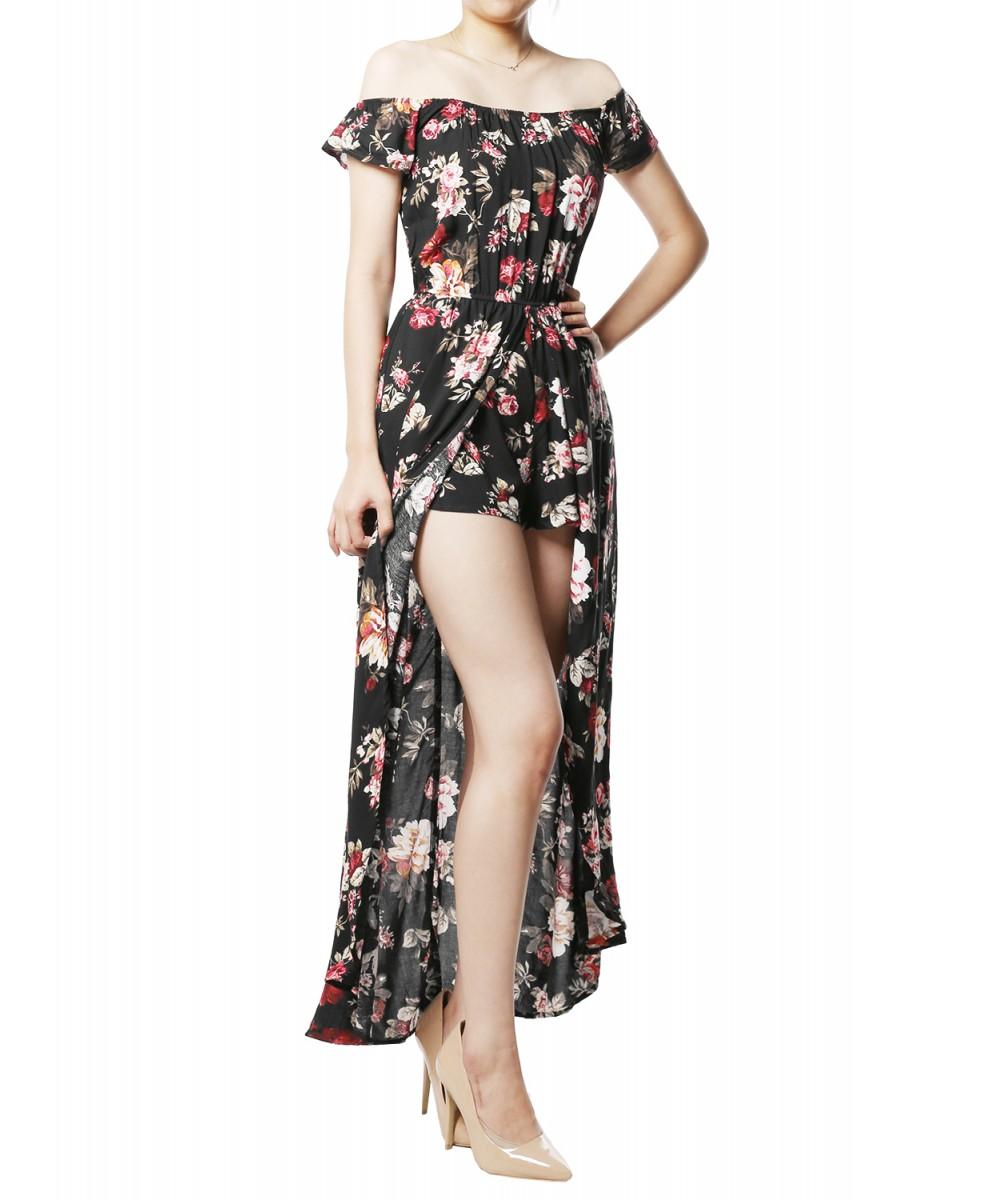 d9a8eecae0c6 Women s Floral Printed Off-Shoulder Split Maxi Short Overlay Romper ...