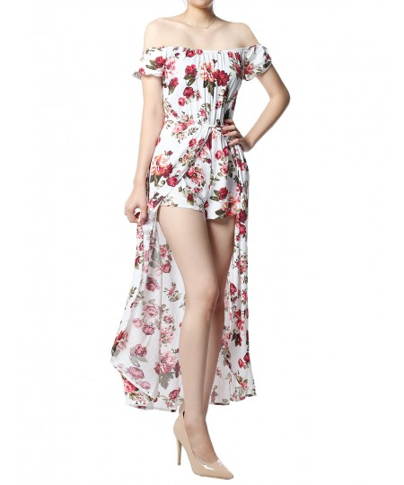 Women's Floral Printed Off-Shoulder Split Maxi Short Overlay Romper