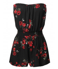 Women's Floral Off-Shoulder Elastic Waist Band Romper